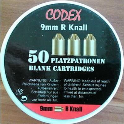 Gáz riaszto lőszer Codex 9mm R Knall 50 db/cs